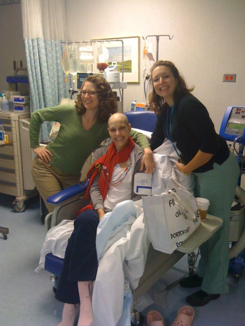 Emily, Geraldine and Monica in the Apheresis Unit